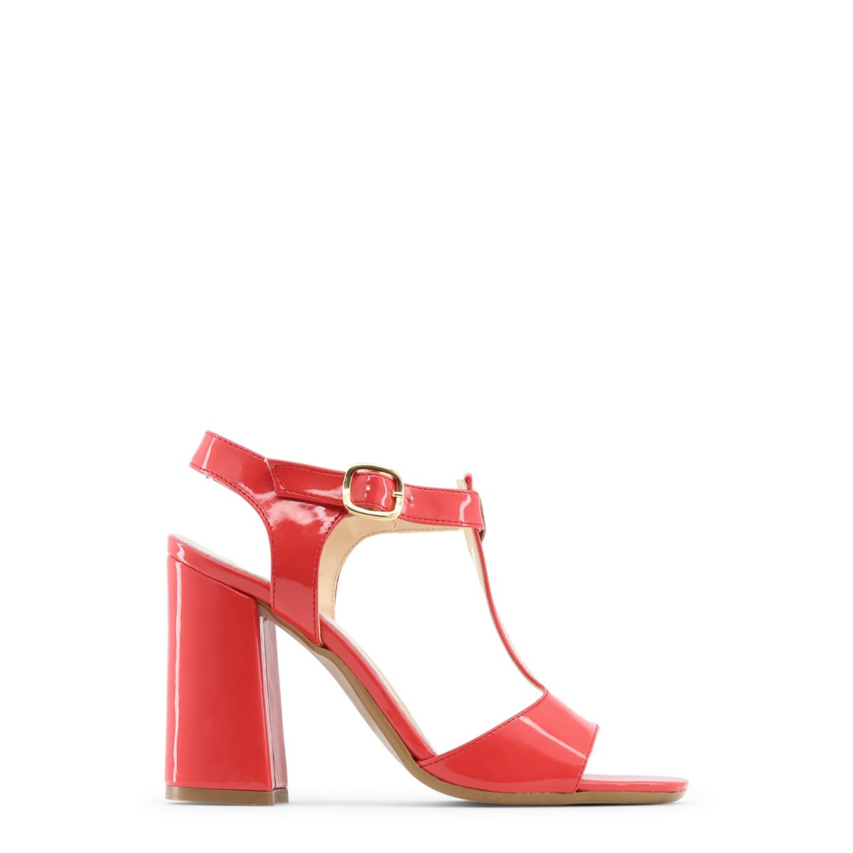 Escarpins à bride talon épais en cuir rouge Made in Italia Buzzao