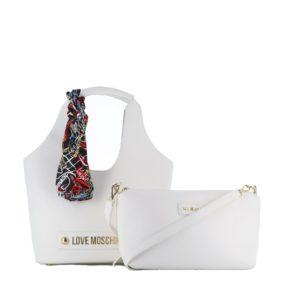 Love Moschino Foulard Accessoire Porté Épaule Couleur Sac Blanc PknwO80X