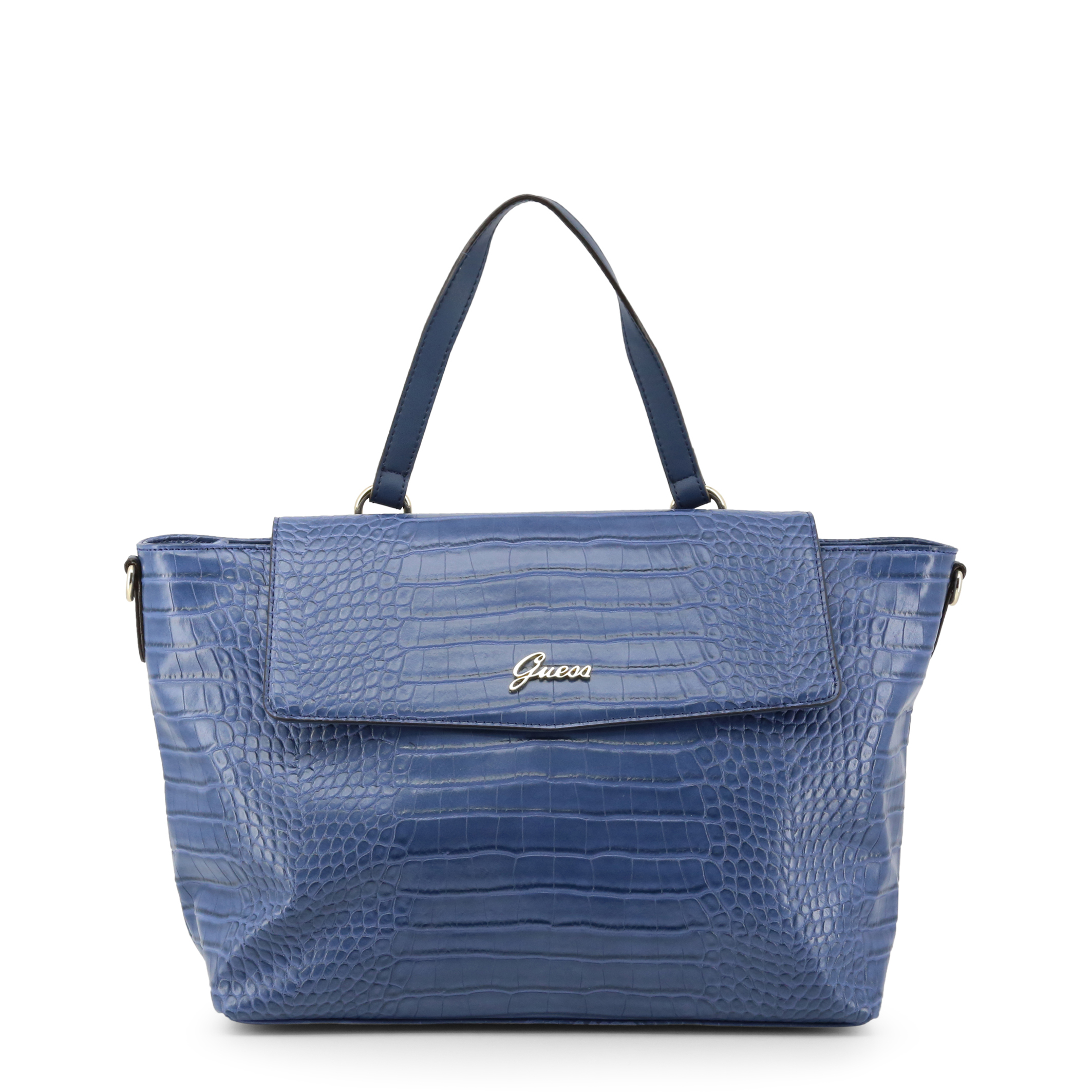 Sac cabas impression croco bleu Guess