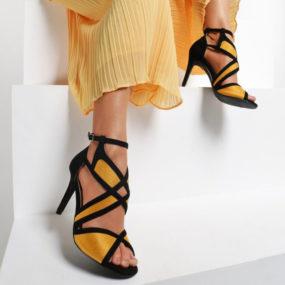 Sandales noires et jaunes à découpes Serena