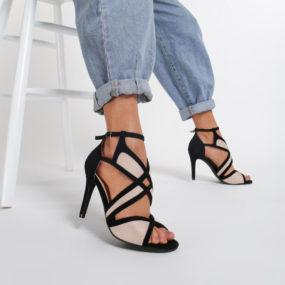 Sandales noires et nudes à découpes Serena