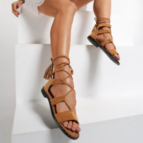 Sandales plates à lacets en suedine camel Johan-2
