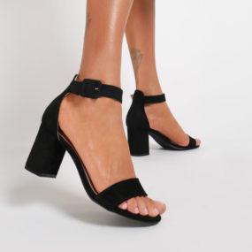 Sandales noires en suedine à talon et bride épaisse Naya-1