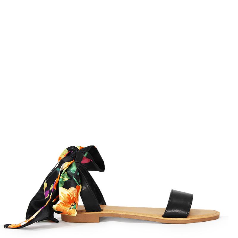 Sandales plates foulard à nouer noires Petra
