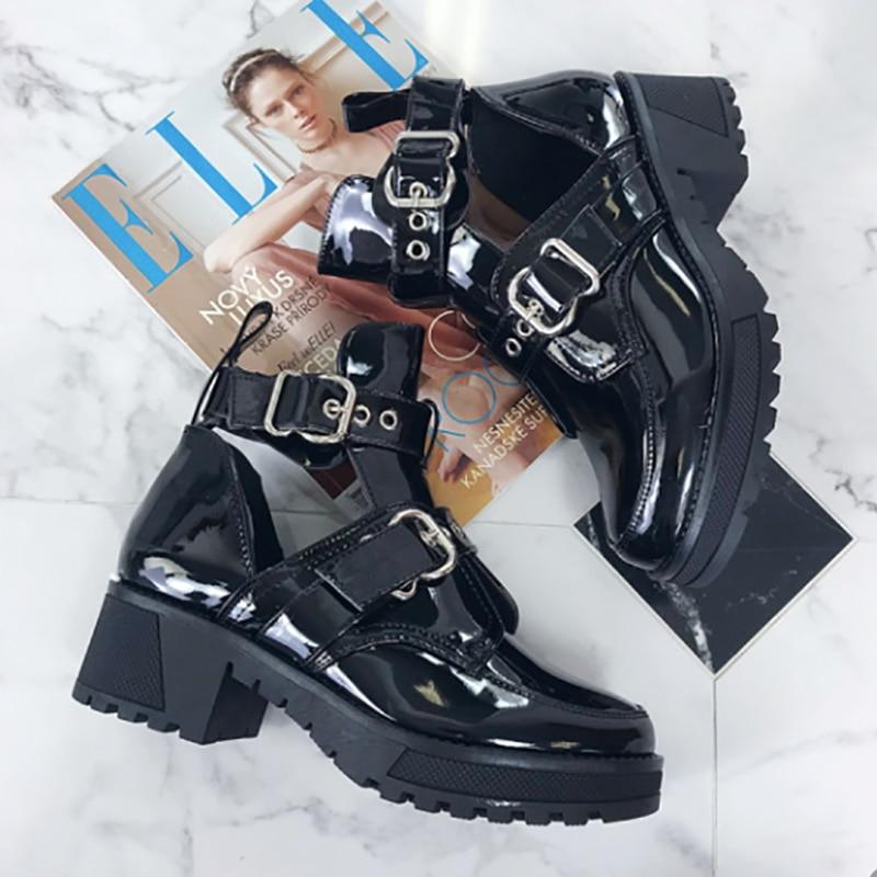 [GOGD] femmes bottines femmes mode Rivet chaussures femme boucle sangle dames talons épais femme Punk Rome chaussures