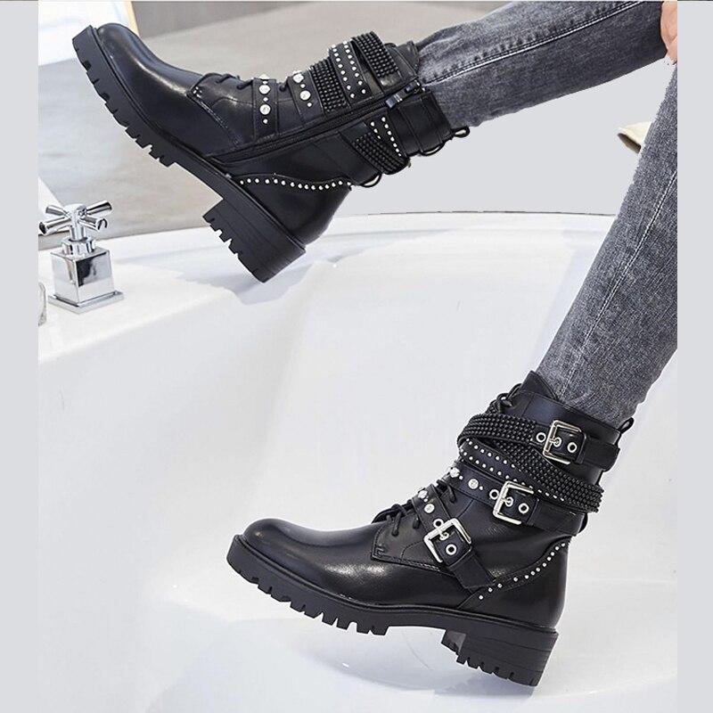[GOGD] cheville femmes frenlum bnuckle parties grosses chaussures hiver mode bottes en peluche fourrure