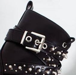 [GOGD] femmes noir cheville bottes boucle sangle Rivet chaussures femme Pu moto Punk