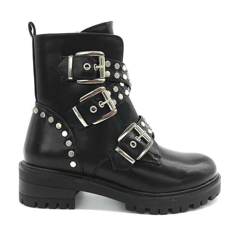 [GOGD] ins fille bottines 2020 mode Rivet chaussures femme boucle sangle dames talons épais femme Punk Rome chaussures taille 36 41