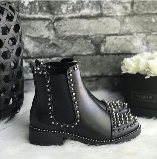 [GOGD] Sexy Rivet velours boîte de nuit chaussures de fête femme court automne hiver dames chaussures bottes