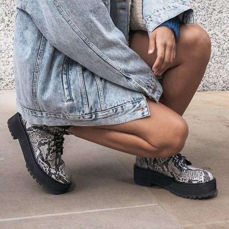 [GOGD] nouveau fond épais peau de serpent Martin bottes femme style britannique quatre saisons classique à lacets bottes de locomotive taille gamme 36-41