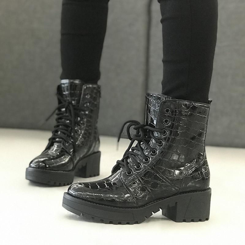 [GOGD] à lacets bottines noires automne hiver pierre PrintBoots femmes bottes de moto