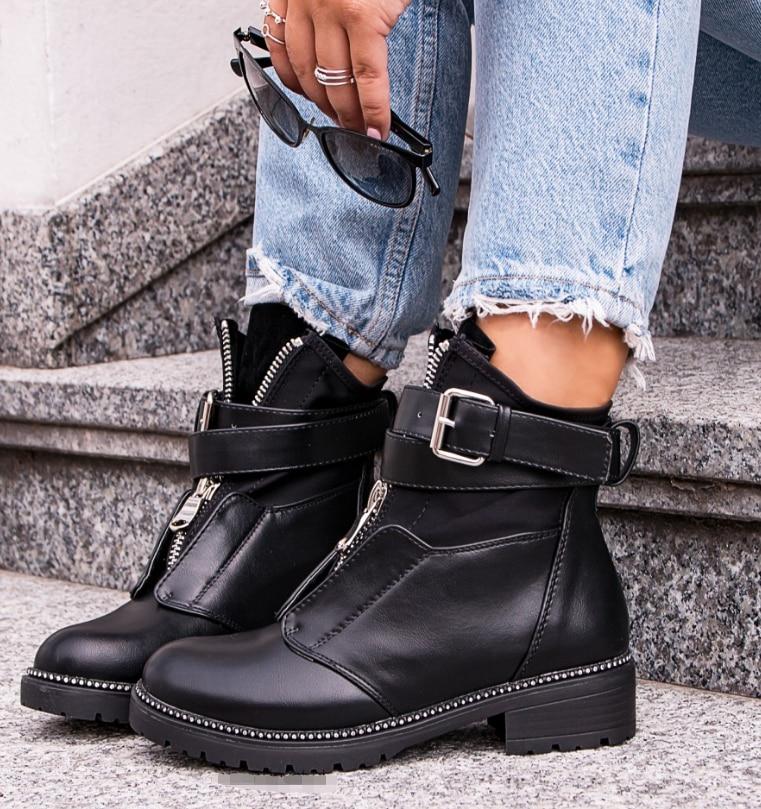 [GOGD] automne hiver femmes bottes à glissière Rivet bottes femmes bottes d'hiver bottines chaussures pour femmes chaussures à bout rond