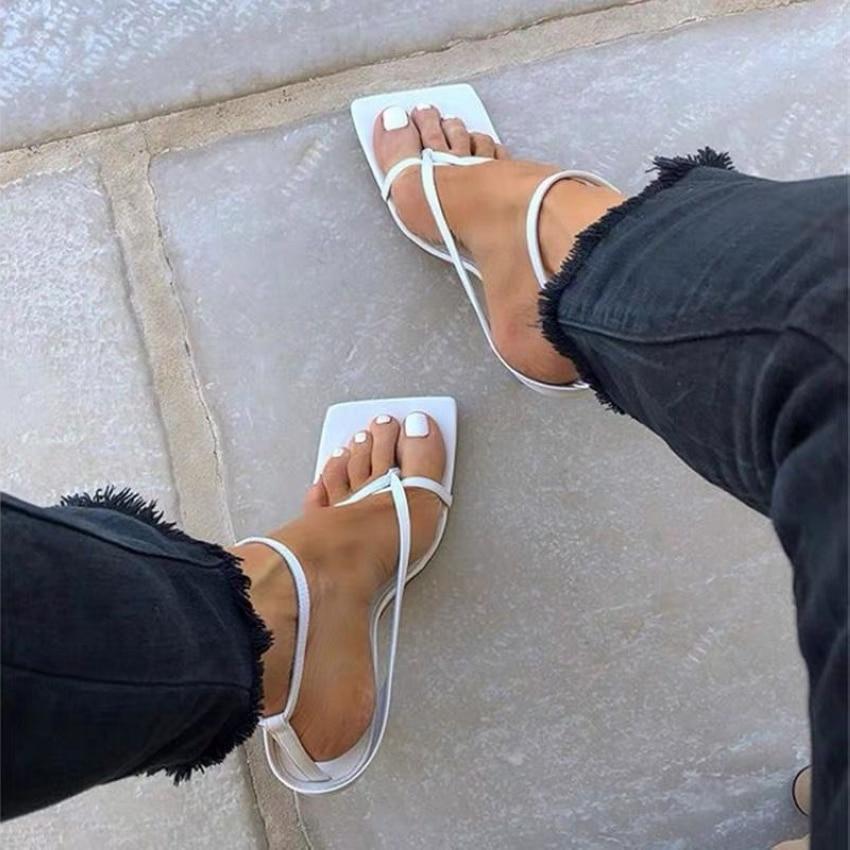 Été femmes sandales bande étroite Vintage bout carré talons hauts boucle sangle à talons hauts sandales femmes col en v chaussures de créateur femmes