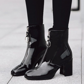 Bottines-à-talon-noir-vernis-Miley