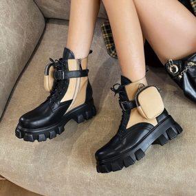 Femmes automne chaussures cuir verni bottes de Combat femme à lacets tendance stockage petits objets espace paquet Sexy femmes bottes cheville