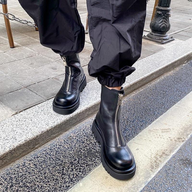 2020 nouvelles femmes en cuir véritable bottes mode à la main en cuir de vache bottes courtes avant fermeture éclair plate-forme bottes bottines pour les femmes