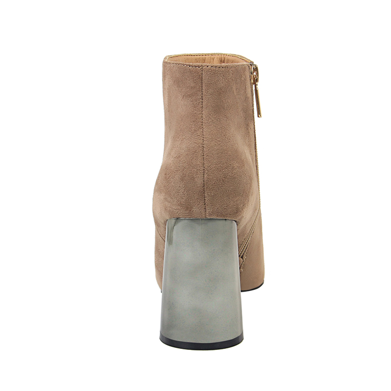 Eilyken femmes troupeau en cuir bottes courtes mode à la main classique bout pointu en métal talons épais haut femmes chaussons