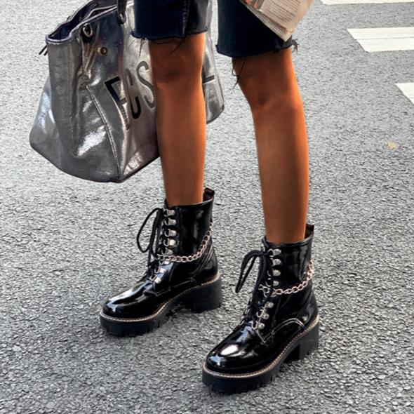 LALA IKAI femmes chaîne bottines Cool brillant PU talon épais augmenter à lacets botte 2020 mode femme automne hiver XWC10362-4