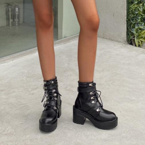 LALA IKAI femmes bottes automne hiver 2020 nouveaux talons hauts bout rond chaussures pour femmes à lacets en peau de mouton bottines botas de mujer