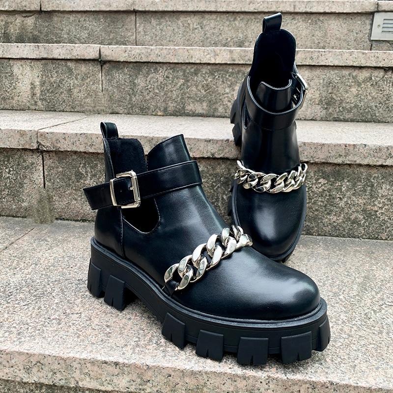 [GOGD] nouveau 2020 mode Rivet chaussures femme boucle sangle dames talons épais femme Punk Rome chaussures femmes bottines femmes