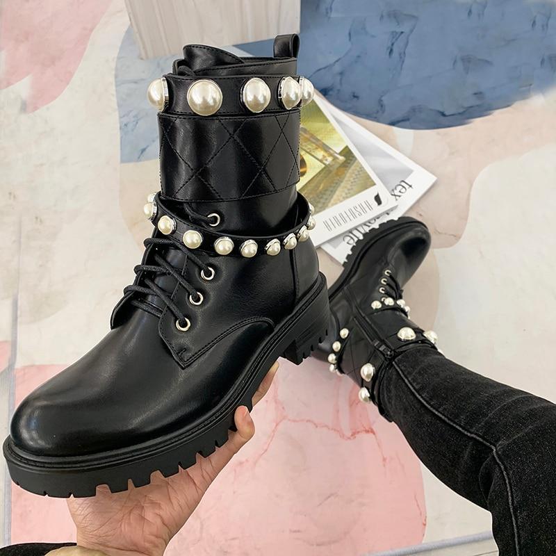 [GOGD] bottes en cuir noir pour femmes, bottes plates, automne et printemps, avec perle chaussures pour femmes