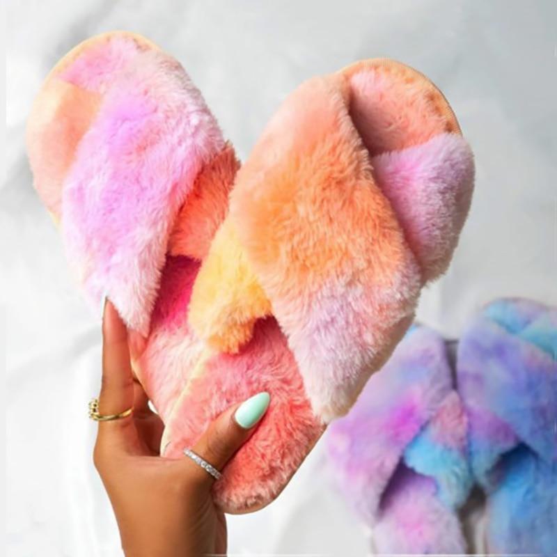 [GOGD] femmes fourrure pantoufles maison dame diapositives hiver pantoufles chaud confortable en peluche intérieur coloré chaussures