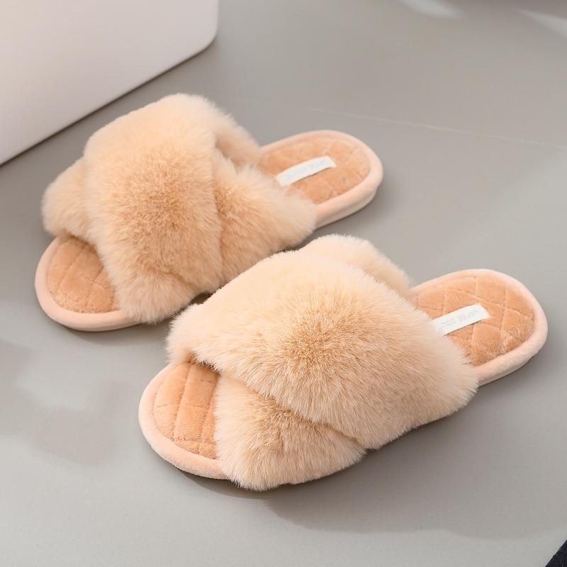 [GOGD] femmes maison chaude bout ouvert poilu pantoufles d'intérieur en peluche pantoufles de plancher confortable fourrure pantoufles d'hiver