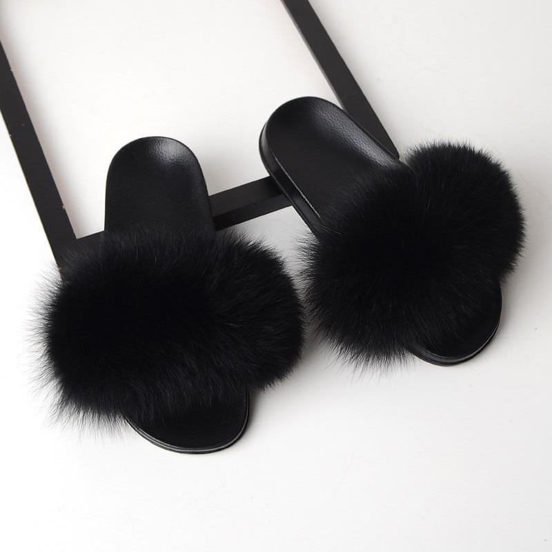 SARSALLYA Fourrure Pantoufles Femmes Réel Fourrure De Renard Diapositives Maison Fourrure Sandales Plates Femmes Mignon Moelleux Maison Chaussures Femme Marque Luxe 2019