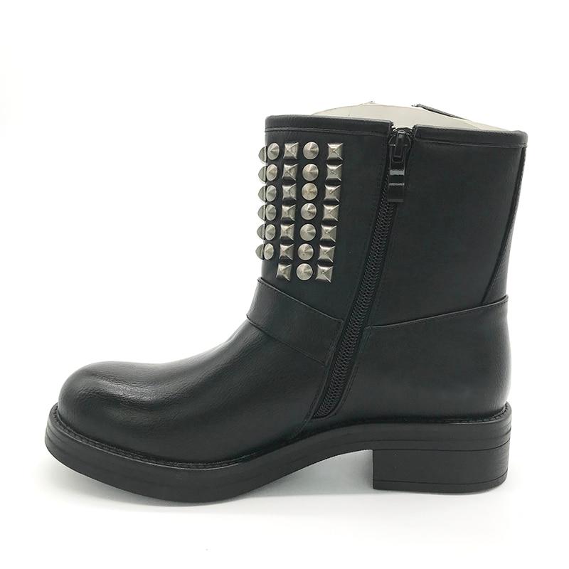 [GOGD] femmes bottes en cuir noir femmes fermeture éclair croix cravate Rivet chaussure boucle équitation boucle chaussures plates mode hiver dame bottes