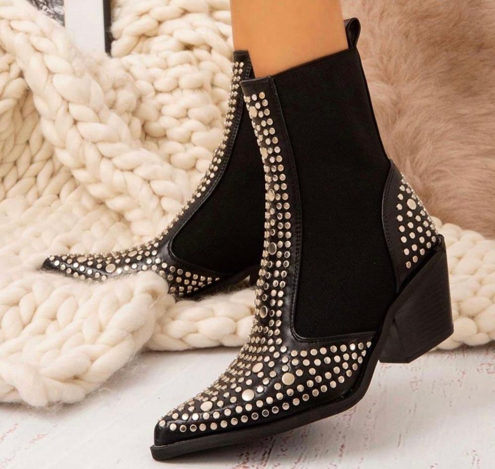 [GOGD] bottes d'hiver femmes Sexy Rivet velours Rive boîte de nuit parti pompe chaussures femmes fermeture éclair courte automne hiver dames chaussures bottes