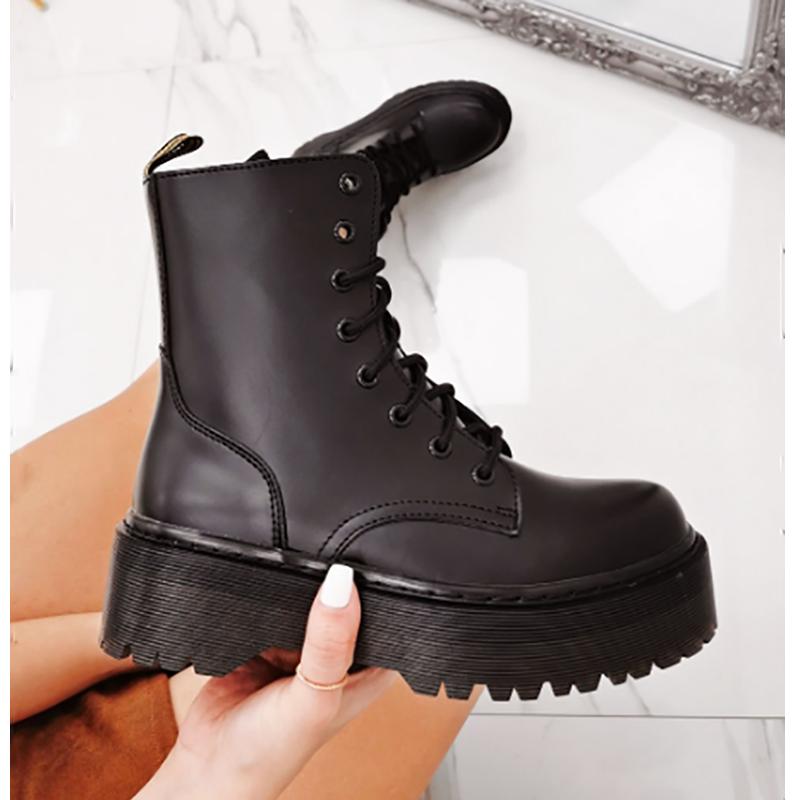 [GOGD]2020 jolie fille chaussures femmes bottes d'hiver épaissir antidérapant Zip fille chaussures en cuir bottes femmes botas mujer Martin bottes