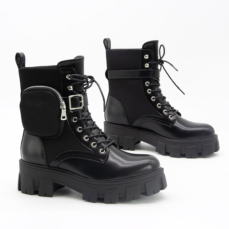 [GOGD] automne hiver moto cheville portefeuille bottes de Combat pour les femmes plate-forme en cuir artificiel gros bloc talon chaussures dames