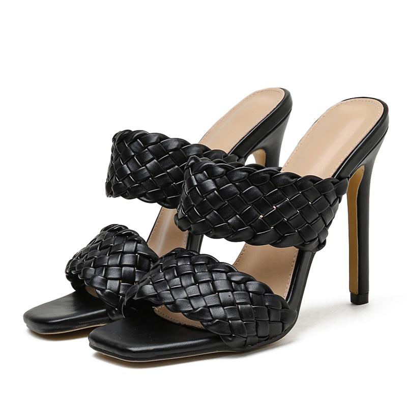 Eilyken été pantoufles femmes talons hauts mode tresse en cuir PU chaussures à bout carré femmes pantoufles en plein air rome sandales 35-42