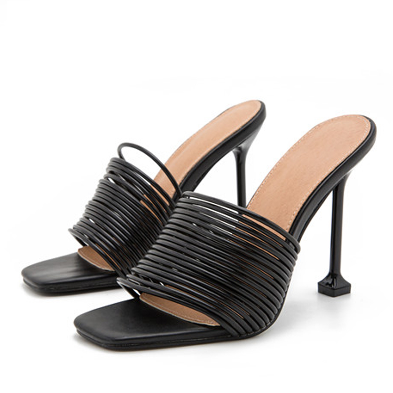 Eilyken 2021 nouvelles femmes diapositives femme bout carré trappy Mules talons hauts pantoufles sandales Sexy été fête pantoufles taille 41 42